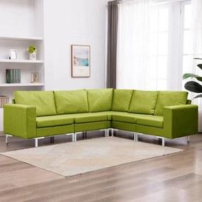 287195 vidaXL Set de canapele, 5 piese, verde, material textil