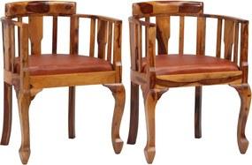 244842 vidaXL Scaune de bucătărie 2 buc., piele și lemn masiv de sheesham