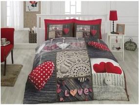 Lenjerie de pat cu cearșaf din bumbac Nina Der, 200 x 220 cm