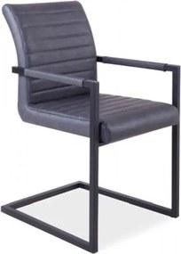 Scaun tapitat cu piele ecologica si picioare metalice Solid Gri / Negru, l47xA44xH87 cm