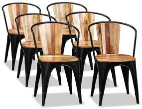 274911 vidaXL Scaune de bucătărie, 6 buc., lemn masiv acacia