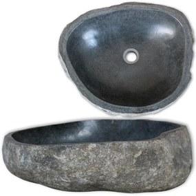 242668 vidaXL Chiuvetă din piatră de râu, 46-52 cm, ovală