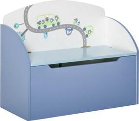 HOMCOM Cutie de Depozitare pentru Jucarii Banca din Lemn Albastru pentru Copii 3-8 Ani