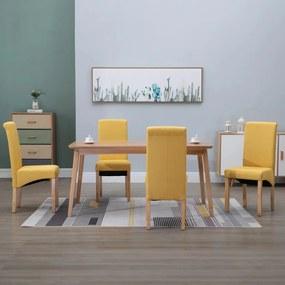 249034 vidaXL Scaune de sufragerie, 4 buc., galben, material textil