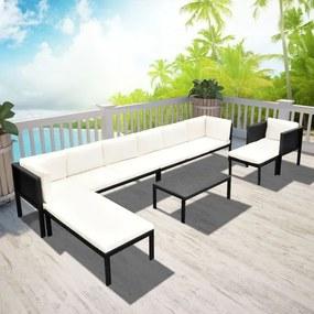 Set canapea de grădină în poliratan 16 piese Negru