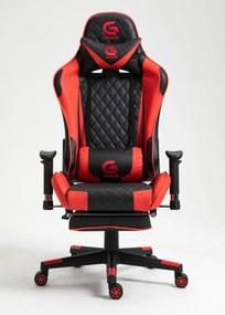 Scaun gaming, suport picioare, funcție sezlong, SIG 5020, Negru/Roșu