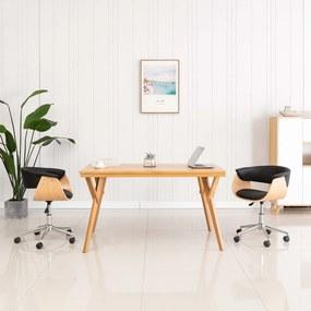 287400 vidaXL Scaun de bucătărie pivotant negru lemn curbat & piele ecologică
