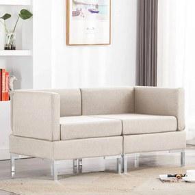 287042 vidaXL Canapele de colț modulare cu perne, 2 buc., crem, textil