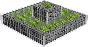 Jardinieră gabion cu 2 niveluri