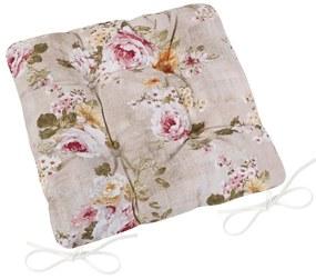Pernă de scaun matlasată Ema Buchet de flori, 40 x 40 cm