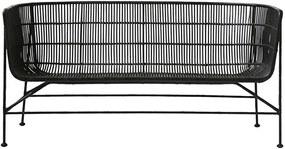 Canapea COON NEAGRA - Ratan Negru Lungime(140 cm) x latime(65.6 cm) x Inaltime(70 cm) x Inaltime sezut (36 cm)