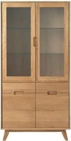 Vitrină din lemn de stejar alb Unique Furniture Rho