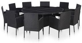 43925 vidaXL Set mobilier de exterior cu perne, 11 piese, negru, poliratan