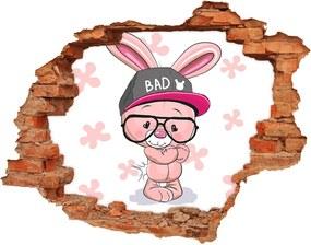 Autocolant de perete gaură 3D Rabbit în capac