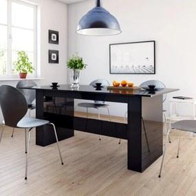 800475 vidaXL Masă de bucătărie, negru foarte lucios, 180 x 90 x 76 cm, PAL