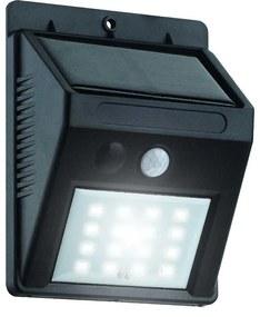 APLICA SOLARA LED PENTRU TERASA, SENZOR DE MISCARE , 9.6X12.4X5 CM, MONTAJ PERETE, NEGRU, PLASTIC