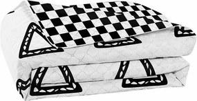 Cuvertură cu 2 fețe din microfibră DecoKing Hypnosis Triumph, 220 x 240 cm, negru - alb