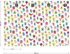 Fototapet GLIX - Monsters Pattern  + adeziv GRATUIT Tapet nețesute - 254x184 cm