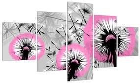 Tablou cu o mulțime de păpădii roz (125x70 cm), în 40 de alte dimensiuni noi