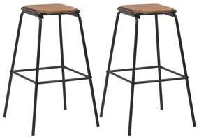 280076 vidaXL Scaune de bar, 2 buc., negru, lemn masiv de pin și oțel