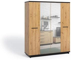 Expedo Dulap dormitor ONESIA SZ4D, 180x215x60, stejar artisan/negru