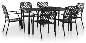 Set mobilier de exterior, 7 piese, plasă din oțel, negru