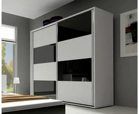 Expedo Dulap dormitor cu uşi glisante KAYLA 200, alb/alb luciu