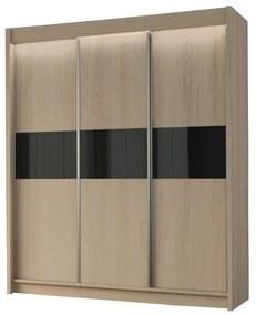 Expedo Dulap cu uși glisante ALEXA, sonoma/sticlă neagră, 180x216x61