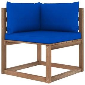 3067246 vidaXL Canapea de grădină din paleți colțar, perne albastre