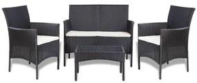 Set mobilier grădină, 7 piese, poliratan, negru și alb crem