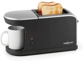 OneConcept Quickie 2-in-1 prăjitor de pâine mini , dublu slot pentru cafea de 250 ml incl. Ceașcă