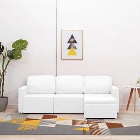 288794 vidaXL Canapea extensibilă modulară cu 3 locuri, alb, piele ecologică