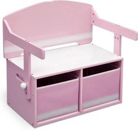 Băncuță copii cu spațiu de depozitare - roz Pat de bancă cu spațiu de depozitare TB84565GN