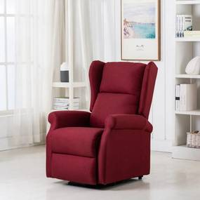 289743 vidaXL Fotoliu de masaj cu ridicare pe verticală, roșu vin, textil
