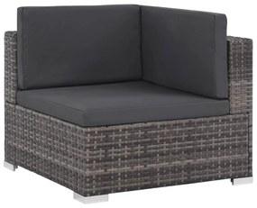 44598 vidaXL Set mobilier de grădină cu perne, 7 piese, gri, poliratan