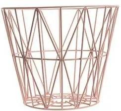 Cos Metalic Mare cu Model Geometric - Metal Roz pastel diametru(60cm) x inaltime(45cm)