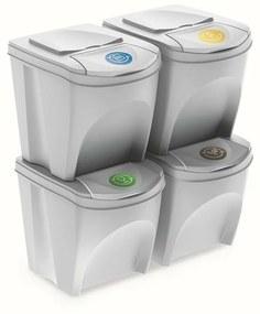 Coșuri selectare gunoi Sortibox 25 l, 4 buc., alb,