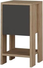 Noptieră cu detalii în decor de lemn de nuc Garetto Ema, gri antracit