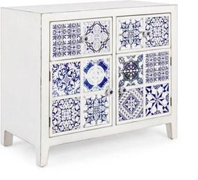Comoda 2 usi si 2 sertare din lemn alb albastru Demetra 81 cm x 40 cm x 70 h