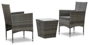 46192 vidaXL Set mobilier de bistro, 3 piese, gri, poliratan și sticlă