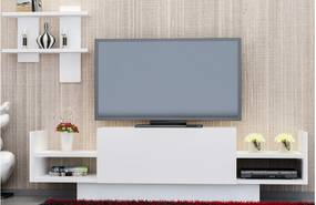 Set comoda TV si etajera din PAL melaminat Montagna Alb