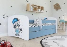 copii pat cu barieră - Raccoon - albastru Racoon Blue 180x80 cm pat + spațiu de depozitare