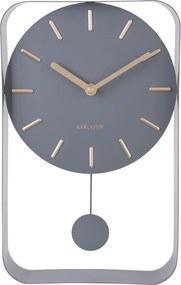 Ceas de perete cu pendul Karlsson Charm, înălțime 32,5 cm, gri