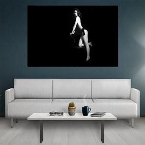 Tablou canvas Black and White Retro Girl