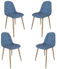 Set 4 scaune dining/buctarie MF HANS, Textil, Albastru denim