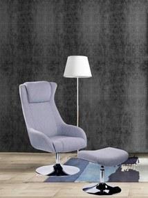Set fotoliu cu taburet tapițat Sit&Chairs gri deschis