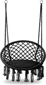 Leagan balansoar suspendat rotund, pentru casa sau gradina, cu perna inclusa, 150kg, negru