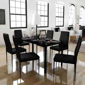 Set masă și scaune de bucătărie 7 piese, negru