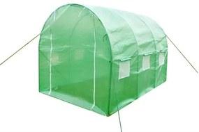 Solar Sera 13.5mp pentru Gradina cu 6 Ferestre Laterale, Folie Verde si Cadru Metalic, Dimensiuni 4.5x3x2m