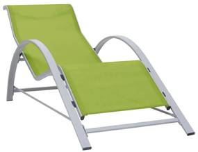 310539 vidaXL Șezlong, verde, textilenă și aluminiu